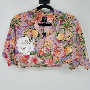 LF The Brand Floral Cropped Button Front Shirt